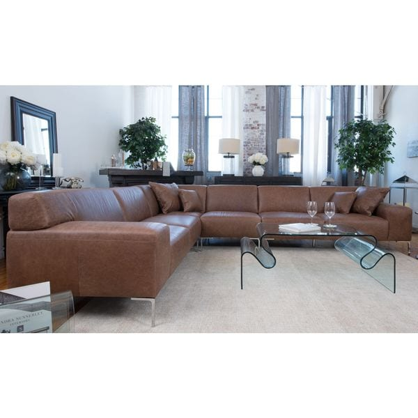 Industrial Chestnut Top Grain Leather Large Sectional Sofa