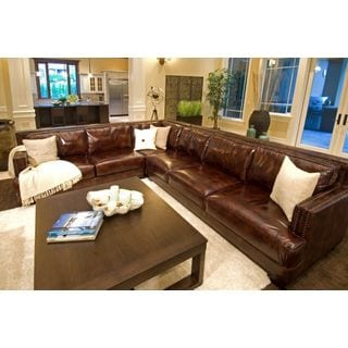 Elements Easton Top Grain Leather Saddle Sectional Sofa