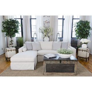 Haley Beige Upholstered Skirted Sectional Sofa