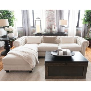 Beige Tufted Upholstered Sectional Sofa