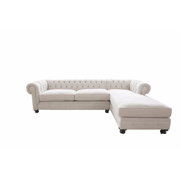Estate Collection Seas Off White Fabric Sectional Sofa