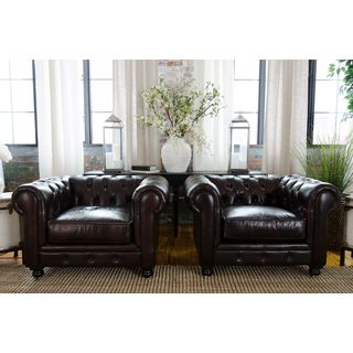 Estate Collection Set of 2 Saddle Top Grain Leather Arm Chairs