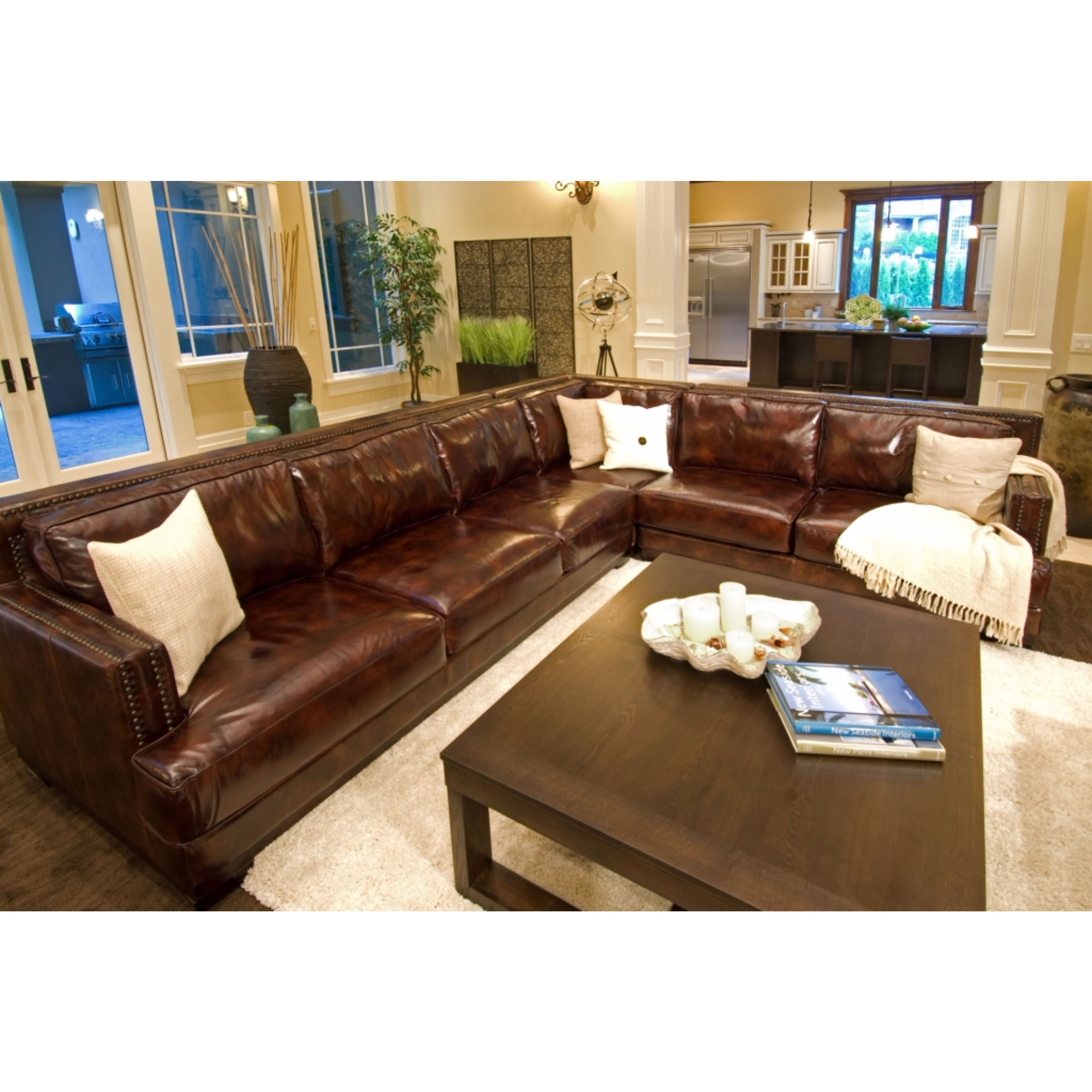 Easton Saddle Top Grain Leather Corner Sectional Sofa