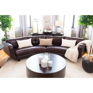 Delano Cappuccino Top Grain Leather Curved Sectional