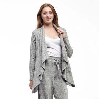 La Cera Women's Plus Size Front Cascading Cardigan