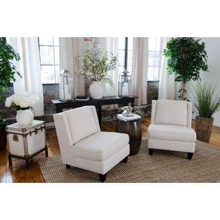 Malibu Off-white Fabric Armless Chairs (Set of 2)