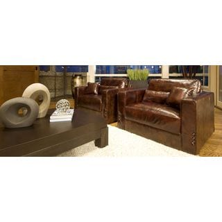 Laguna Set of 2 Saddle Brown Top Grain Leather Accent Chairs