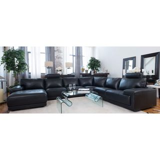 Elements Cinema Black Top-grain Leather Sectional