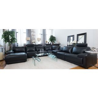 Cinema Black Top Grain Leather Large Sectional with Console Storage Table