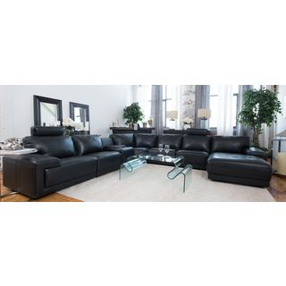Cinema Top Grain Leather Black Large Sectional w/ Console Storage Table (Left Facing Chair and Right Facing Chaise)