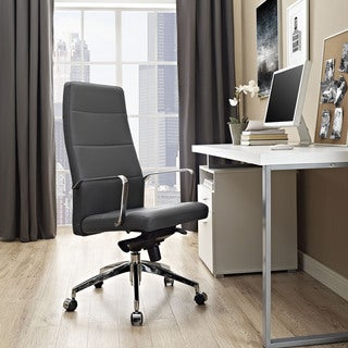 Cavalier Black/Chrome Steel/Vinyl Mid-back Padded Office Chair