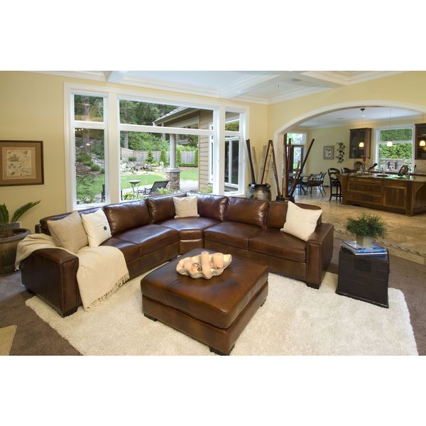 Carlyle Rustic Top Grain Leather Sectional