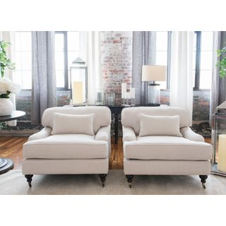 Saint Tropez Collection Set of 2 White Linen Fabric Arm Chairs