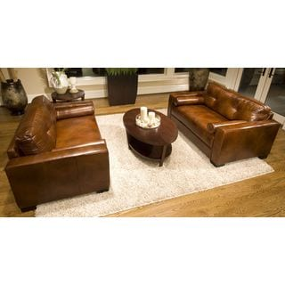 Soho Rustic Brown Top Grain Leather Oversized Accent Chairs (Set of 2)