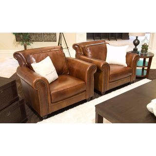 Paladia Rustic Brown Top Grain Leather 2-piece Chair Set