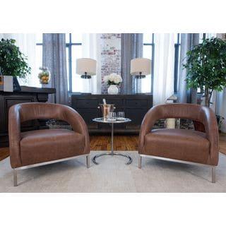 Mod Top Grain Leather Chestnut Deco Chair (Set of 2)