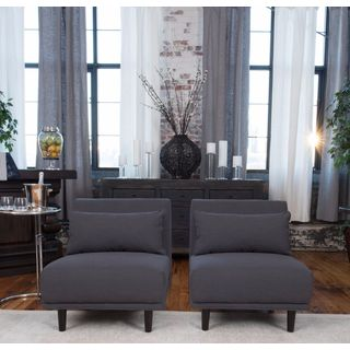 Manhattan Set of 2 Concrete Grey Fabric Armless Chairs
