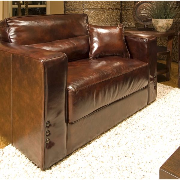 Shop Laguna Top Grain Leather Accent Chair In Saddle