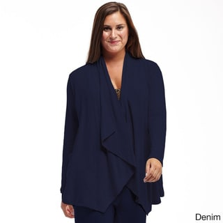 La Cera Women's Blue/Tan/Black/Grey Rayon/Polyester/Spandex Cascading Cardigan