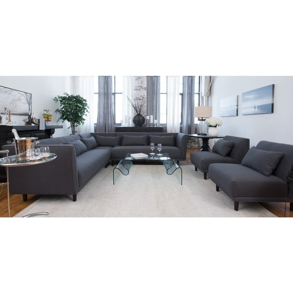 Manhattan Collection Grey Fabric Sectional Sofa And 2 Armless Chairs Set Of 3