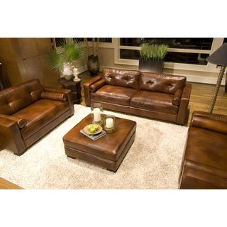 Soho 3-Piece Top Grain Leather Collection in Rustic including 1-Sofa and 2-Oversized Chairs
