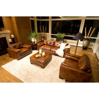 Soho Rustic Top Grain Leather 3-piece Living Room Collection