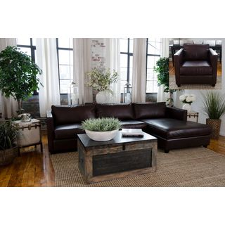 Urban Collection Cappuccino Top Grain Leather Sectional Sofa