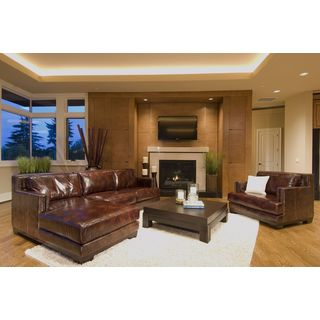 Elements Fine Home Davis 2-piece Top Grain Leather Brown Saddle Finish Sectional Collection