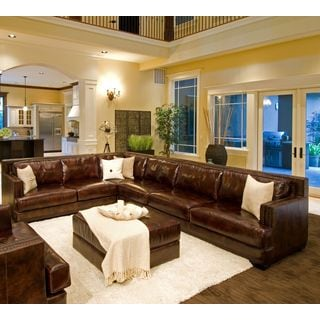 Easton 2-Piece Leather Sectional Set (Right Sofa, Left Loveseat) in Saddle including 1-Sectional and 1-Cocktail Ottoman