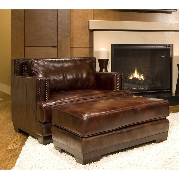Shop Emerson 2 Piece Saddle Top Grain Leather Seating Set