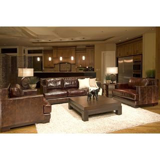 Emerson Top Grain Leather Saddle Brown Sofa and Chair (Set of 3)