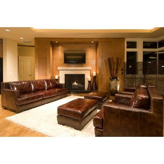 Emerson Collection Saddle Top Grain Leather 5-Piece Living Room Furniture Set