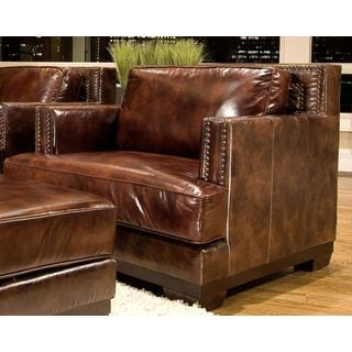 Elements Fine Home Easton Top Grain Leather Brown Saddle Finish Accent Chairs (Set of 2)