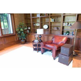 Elements Fine Home Garret Top Grain Leather Brown Sienna Finish Reclining Club Chair