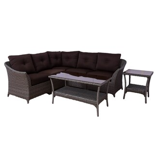 Somette Tortuga 7 piece Modular Wicker Sectional Set