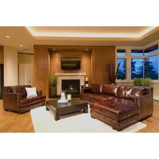 Davis 2-Piece Leather Sectional Collection (Left Loveseat, Right Chaise) in Saddle including 1-Sectional and 1-Standard Chair