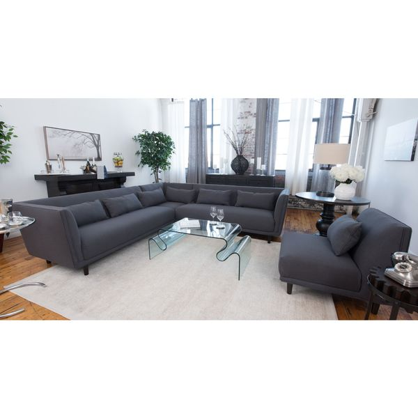 manhattan concrete grey fabric sectional sofa and armless chair