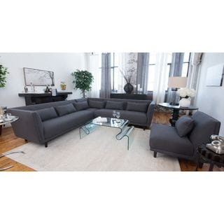 Manhattan Concrete Grey Fabric Sectional Sofa and Armless Chair Living Room Set