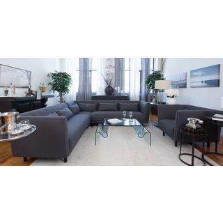 Manhattan Concrete Grey Fabric Sectional Sofa and Arm Chair Set