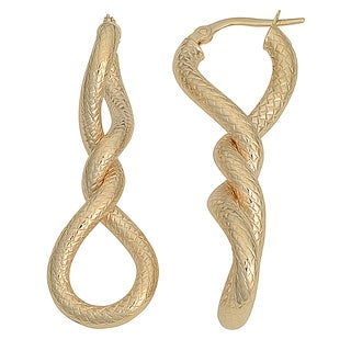 Fremada Italian 14k Yellow Gold Diamond-Cut Twisted Hoop Earrings, 1.6""