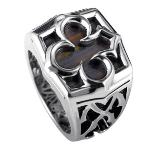 Stephen Webster Sterling Silver Tiger Iron Aces Signet Ring