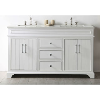 Legion Furniture White Wood 60-inch Sink Vanity With Quartz Top (No Faucet)