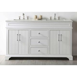 Legion Furniture White Wood 60-inch Sink Vanity With Quartz Top