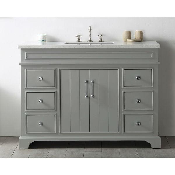 Legion Furniture Cool Grey Wood 48-inch Quartz-top No-faucet Sink Vanity
