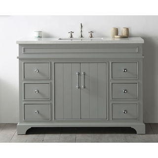 Legion Furniture Cool Grey Wood 48-inch Quartz-top No-faucet Sink Vanity
