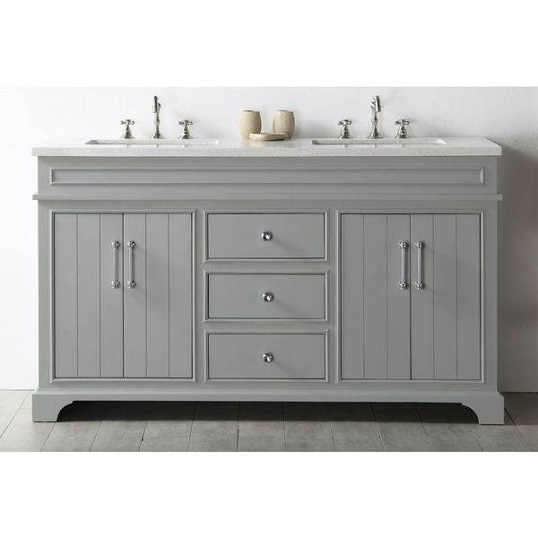 Legion furniture cool grey wood 60 inch quartz top for Legion furniture 30 inch bathroom vanity