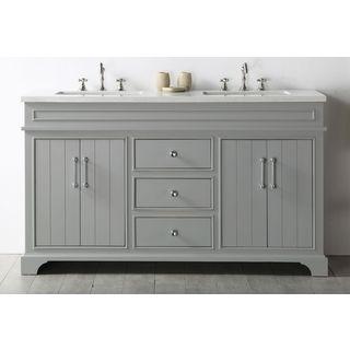 Legion Furniture Cool Grey Wood 60-inch Quartz Top Bathroom Sink Vanity