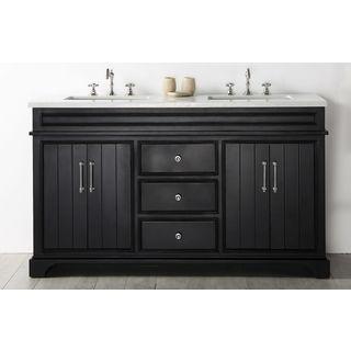 Legion Furniture Espresso Wood 60-inch Vanity with Quartz Top