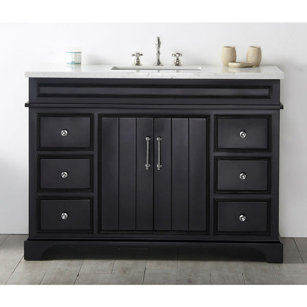 Shop Legion Furniture Espresso 48 Inch Wood Sink Vanity With Quartz Top Free Shipping Today