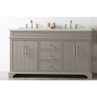 Legion Furniture White/Warm Grey Ceramic/MDF/Wood 60-inch Quartz-top No-faucet Sink Vanity